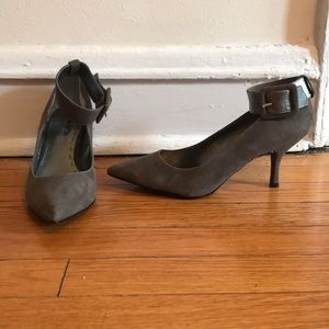 Taupe suede heels
